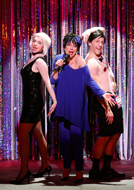 Mia Gentile, Carter Calvert, and Scott Richard Foster in 'Forbidden Broadway Comes Out Swinging' (Photo credit: Carol Rosegg)