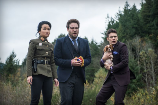 Did Kim Jong-un threaten the dog, too? Seth Rogen and James Franco in 'The Interview'