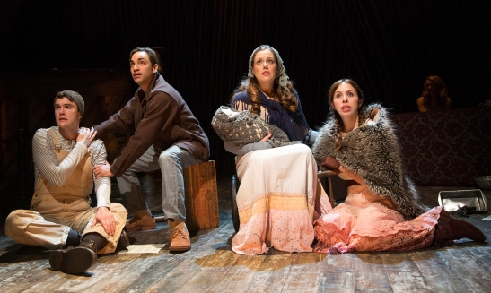 Patrick Mulryan, Ben Steinfeld, Claire Karpen, and Emily Young sing about no one being alone in 'Into the Woods' (Photo: Joan Marcus)