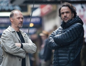 Michael Keaton and Alejandro Gonzalez Inarritu on the set of 'Birdman'