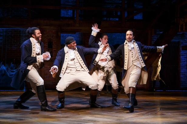 Daveed Diggs, Okieriete Onaodowan, Anthony Ramos, and Lin-Manuel Miranda in 'Hamilton' (Photo: Joan Marcus)