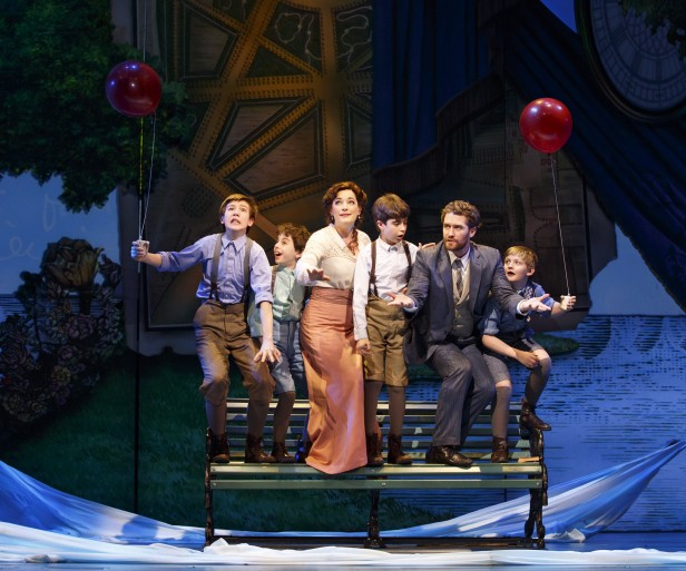 Sawyer Nunes, Alex Dreier, Laura Michelle Kelly, Aidan Gemme, Matthew Morrison, and Christopher Paul Richards in 'Finding Neverland' (Photo: Carol Rosegg)