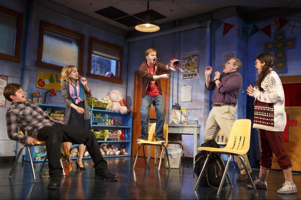 Michael Oberholtzer, Geneva Carr, Steven Boyer, Marc Kudisch, and Sarah Stiles in 'Hand to God' (Photo: Joan Marcus)