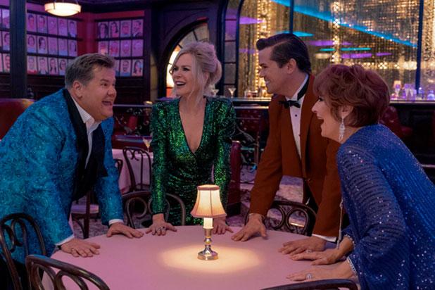 "James Corden, Nicole Kidman, Andrew Rannells and Meryl Streep in ""The Prom"" (Photo: Netflix)"